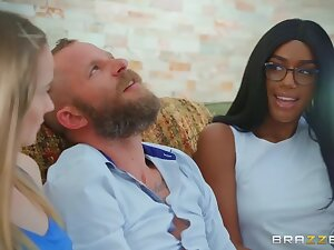 Chocolate lounge lizard Ashley Aleigh wakes back and seduces luring guy