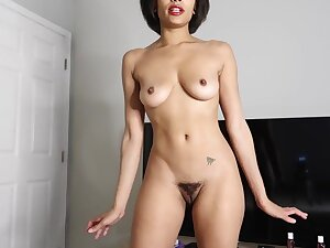 Exotic ebony babe adjacent to chirpy tits increased by hairy pussy - solo webcam