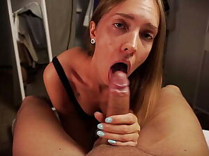 Girl in Stockings Sucking Cock until she Gets Cum on her Complete round Ass