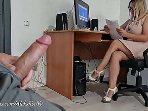 I FLASH MY DICK AND JERKOFF NEAR SECRETARY GIRL- SHE Bedazzled