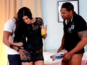 April Blue deepthroats a sickly and black horseshit in only blowjob trinity