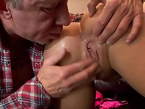 Haley gets fucked by an old suppliant who cums in the ass