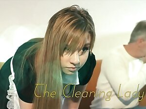 OMG My dad fucks young cleaning lady after she seduces him with his tight pussy with the addition of sexy outfit she sucks his cock with the addition of lets the daddy lady-love her wet pussy hardcore on the couch