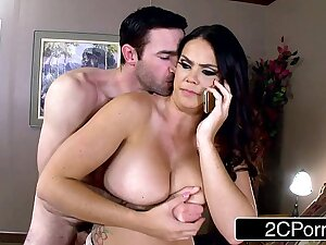 Lovely Nympho Alison Tyler Calls Husband While Giving Blowjob relating to her Beau